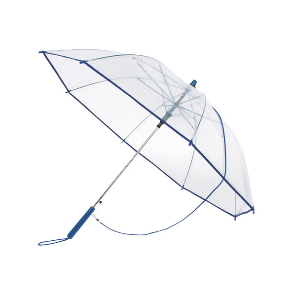 Transparent automatic shoulder strap umbrella «Panoramic», цвет transparent blue
