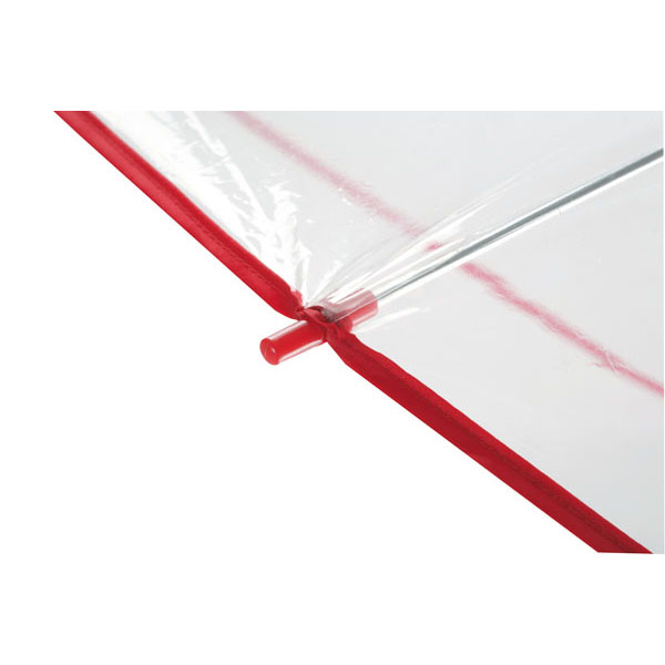 Transparent automatic shoulder strap umbrella «Panoramic», цвет transparent red