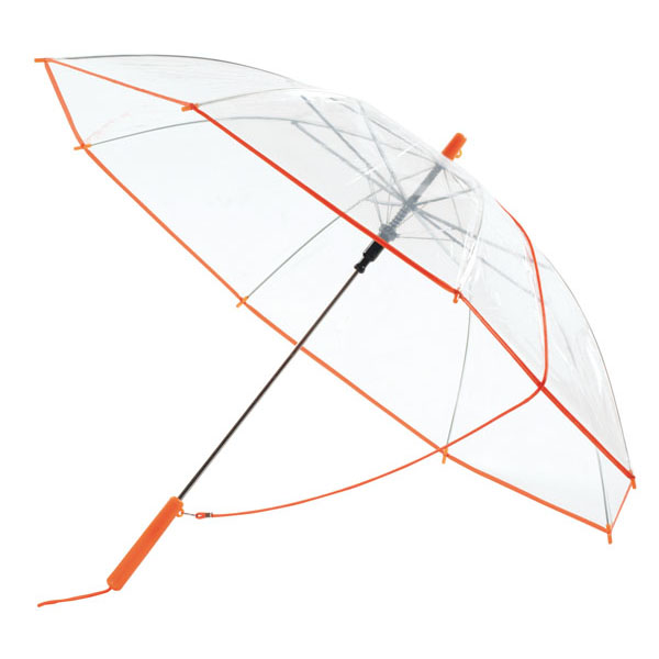 Transparent automatic shoulder strap umbrella «Panoramic», цвет transparent orange