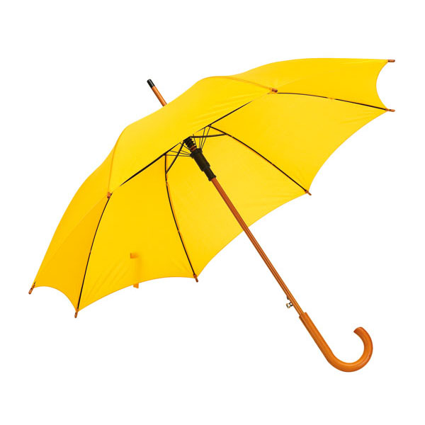 Automatic wooden stick umbrella «Boogie», цвет yellow