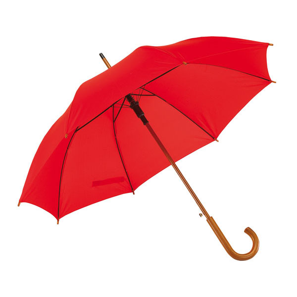 Automatic wooden stick umbrella «Boogie», цвет red