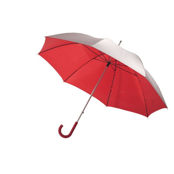 Aluminium fibreglass golf umbrella «Solaris», цвет silver red