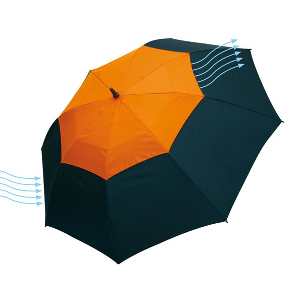 Fibreglass golf umbrella «Monsun», цвет black orange