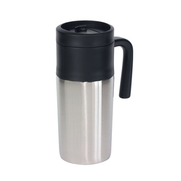 Double-walled flask «Grab and Go», цвет silver black