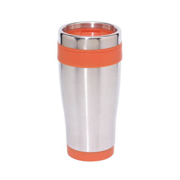 Double-walled travel mug «Lungo», цвет silver orange