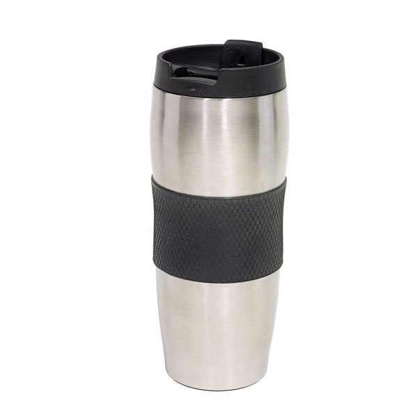 Doubled-walled travel mug «Au Lait», цвет black silver