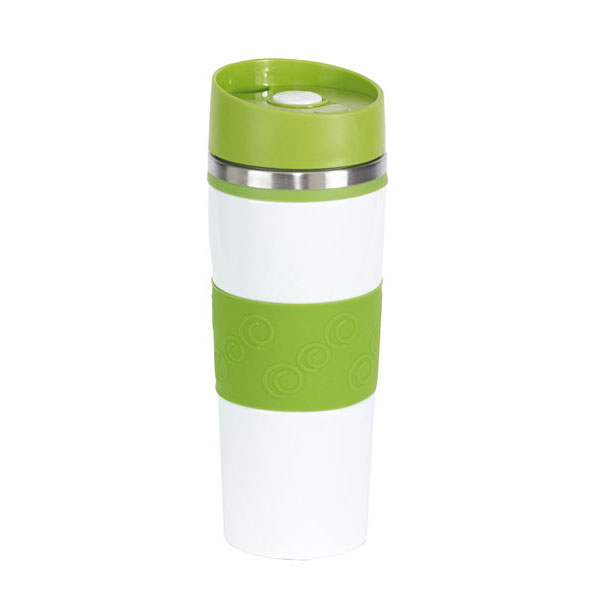 Double-walled flask «Arabica», цвет white light green