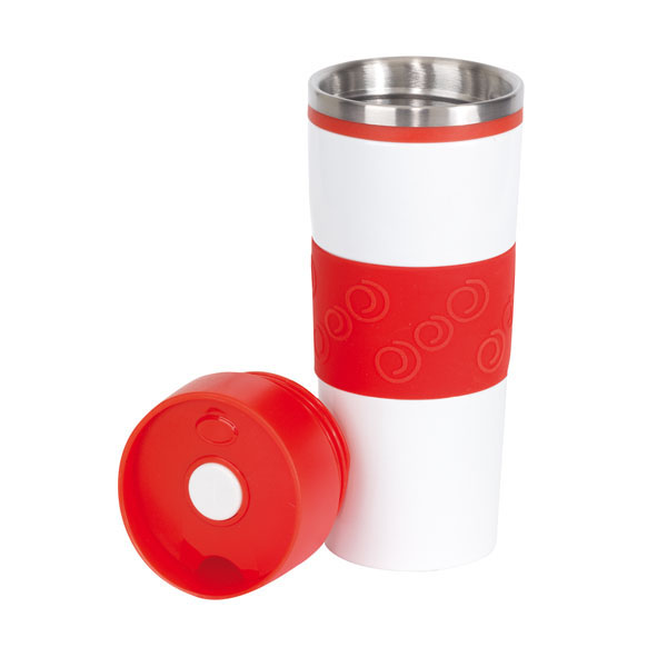 Double-walled travel mug «Arabica», цвет white red