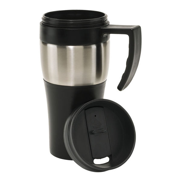 Double-walled cup «Hot drink», цвет silver black