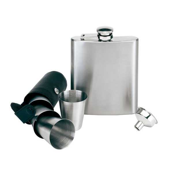 7 piece stainless steel hip flask set «Gentleman», цвет black silver