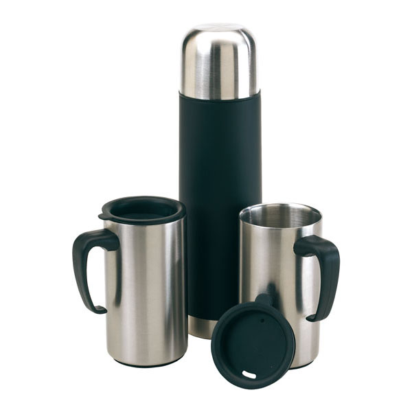 Stainless steel double-walled set «Outdoor», цвет silver black