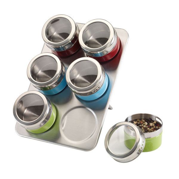 Stainless steel spice rack «Fantastic», цвет silver red blue green