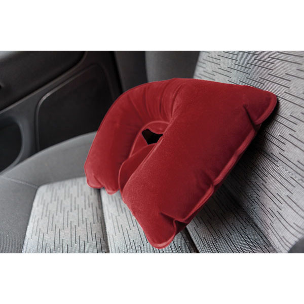 Inflatable travel pillow «Comfortable», цвет dark red