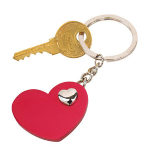 "Key ring ""Heart-in-heart"", цвет red silver"