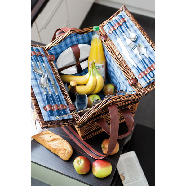 Willow picnic basket «Summertime» for 4 persons, цвет blue