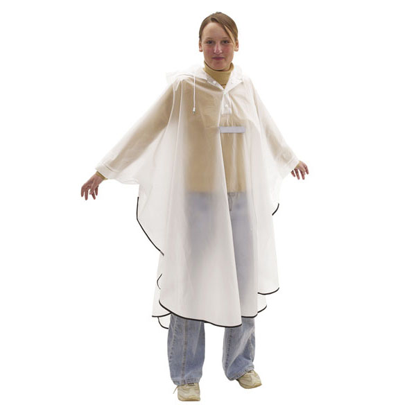 Poncho «Dry and save»  with reflector stripes, цвет white