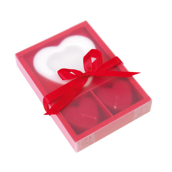 Candle set «2 Hearts», цвет red white