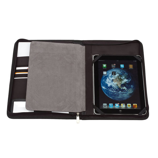 Portfolio «Noblesse» in DIN A4 format with integrated holder for tablet PC, цвет black