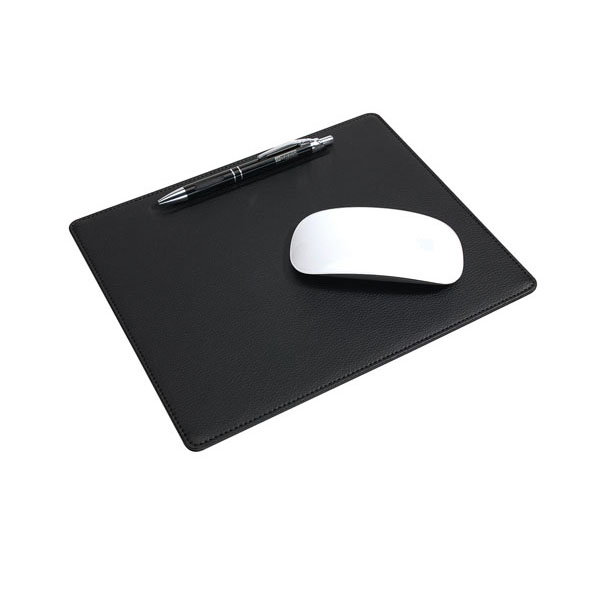 Mouse pad «New Line»: with practical dent for a pen, in faux leather look, цвет black