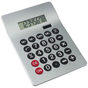 "8-digit dual power calculator ""Glossy"", цвет silver"