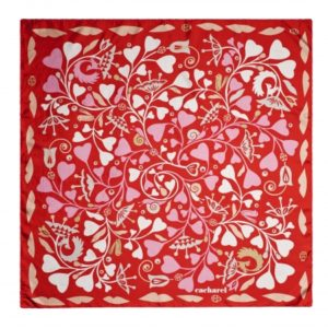 Silk scarf Fairy Garden red